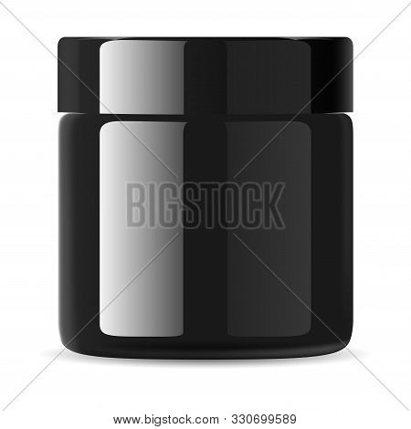 Black Cosmetic Cream Jar. Face Lotion Packaging. Beauty Container Blank. Premium Advertising Mockup.
