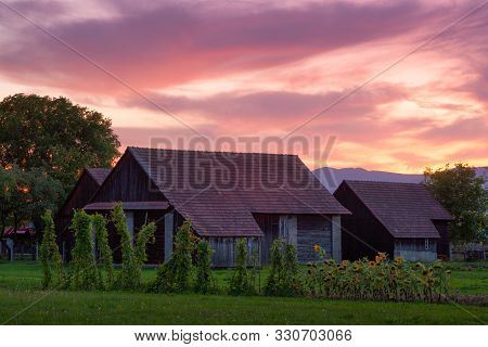 Traditional Barns In Turiec Region, Central Slovakia.