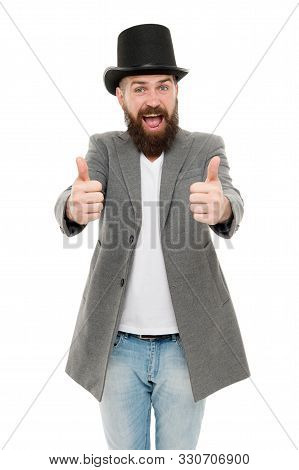 Thumbs Up To Retro. Bearded Man Wearing Cylinder Hat In Retro Style. Caucasian Guy Showing Thumbs Up