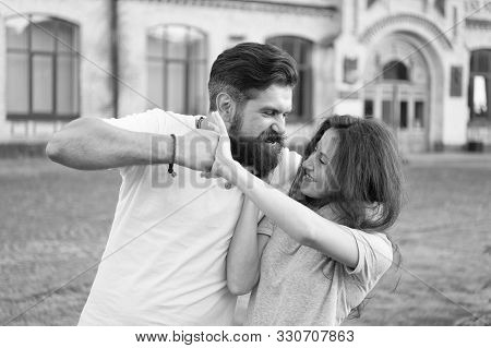 Taking A Lot Of Abuse From Him. Bearded Man Pushing Girl Using Physical Abuse In Public. Woman Exper