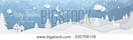 Winter Landscape With Deer Paper Cut-out And Fir Trees In Snow. Festive Horizontal Banner With Text