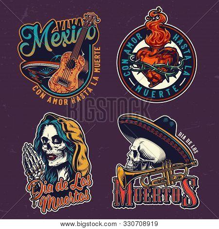Dia De Los Muertos Vintage Prints With Guitar Skull In Sombrero Hat Fiery Heart In Wire Dead Woman H