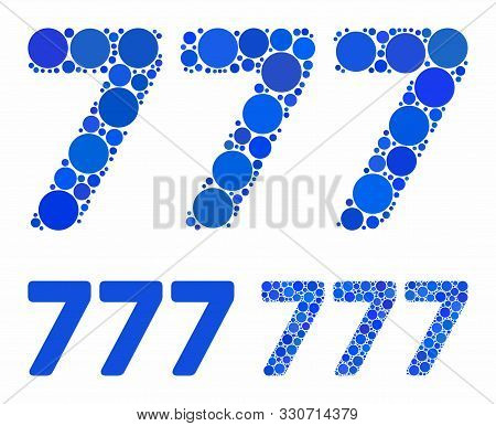 777 Digits Text Composition Of Circle Elements In Variable Sizes And Color Tones, Based On 777 Digit