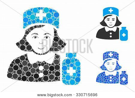 Apothecary Lady Mosaic Of Round Dots In Variable Sizes And Color Tones, Based On Apothecary Lady Ico