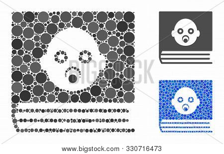 Baby Album Mosaic Of Filled Circles In Different Sizes And Color Tinges, Based On Baby Album Icon. V