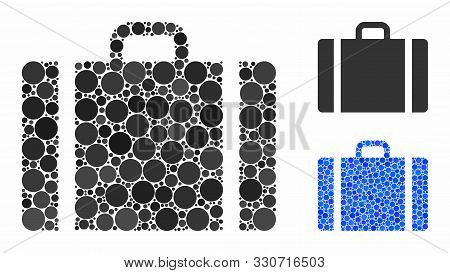 Baggage Composition Of Spheric Dots In Various Sizes And Color Tints, Based On Baggage Icon. Vector