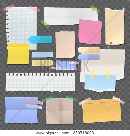 Sticky Paper Notes Or Set Of Isolated Stickers. Note With Tape Or Pinned Post, Blank Or Empty Office
