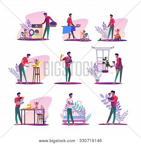 House Husband Set. Man Doing Laundry, Ironing, Feeding Baby. Flat Vector Illustrations. Parental Lea
