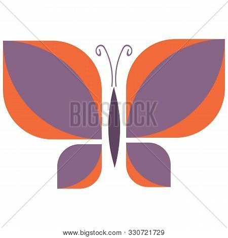 Vintage Purple Geometric Butterfly Vector Illustration. Hand Drawn Garden Insect In Sixties Flat Col