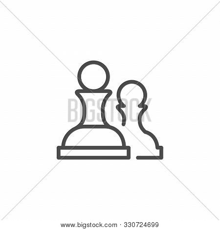 Chess Figure Line Outline Icon Isolated On White. Board Game Pawn Object. Chessman Strategy And Tact