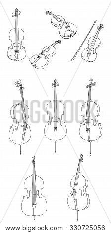 Classic Violin, Alt, Cello, Double Bass And Bow Vector Isolated On White Background, Different Angle