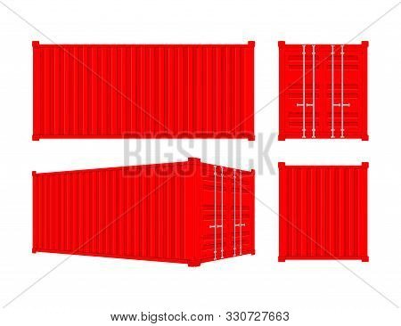 Red Shipping Cargo Container Twenty And Forty Feet. For Logistics And Transportation. Vector Stock I