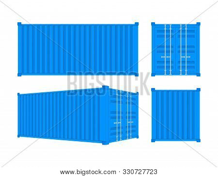 Blue Shipping Cargo Container Twenty And Forty Feet. For Logistics And Transportation. Vector Stock