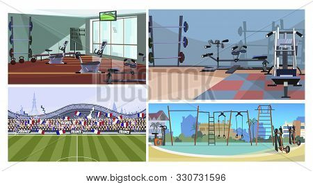 Sport Facilities Vector Illustration Set. Fitness Club Or Gym Interior, Outdoor Sport Ground, City S