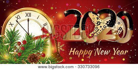 Happy New Year 2020. Year Of The Rat. Red Colorful Background With Golden Clock And Branches Christm