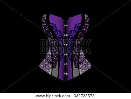 Luxury Corset Logo. Lace Dark Purple Vintage Corset, Gothic Style. Vector Design Isolated On Black B