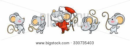 Cute Mice Dancing Around Santa Claus Mouse. 2020 Year Cartoon Vector Illustration On White Backgroun