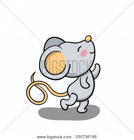 Cute Mouse Dancing And Smiling. 2020 New Year Symbolic Animal. Rat Or Mouse Cartoon Vector Illustrat