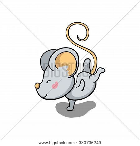 Cute Mouse Character Dance. 2020 New Year Symbolic Animal. Rat Or Mouse Cartoon Vector Illustration