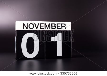 November 1st. Image Of November 1 Calendar On Black Background. Empty Space For Text