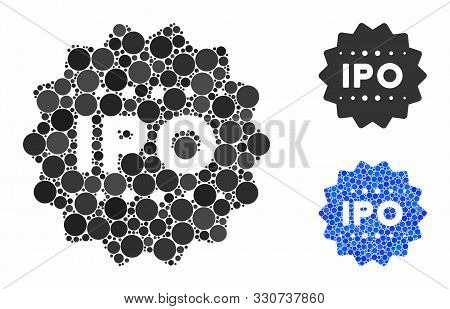 Ipo Token Mosaic Of Small Circles In Different Sizes And Color Tints, Based On Ipo Token Icon. Vecto