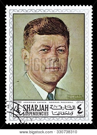 Cancelled Postage Stamp Printed By Sharjah, That Shows Painting By Norman Rockwell, Circa 1968.