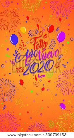 Greeting Card With The Message: Feliz Ano Nuevo 2020 - Happy New Year 2020 In Spanish Language - Car