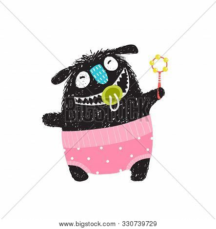 Funny Hairy Monster Baby Design With Rattle Smiling Wearing Pink Nappy And Dummy In The Mouth Open.