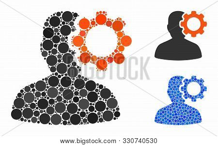 Migraine Mosaic Of Small Circles In Variable Sizes And Color Tints, Based On Migraine Icon. Vector R