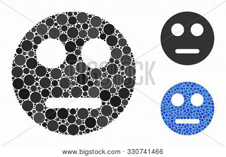 Neutral Smiley Mosaic Of Spheric Dots In Different Sizes And Color Tints, Based On Neutral Smiley Ic
