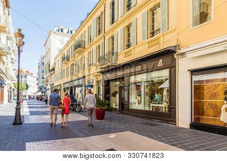 Nice Cote D Azur. France. June 20 2019. A View Of A Boutique Street Scene In Nice In Cote D Azur In