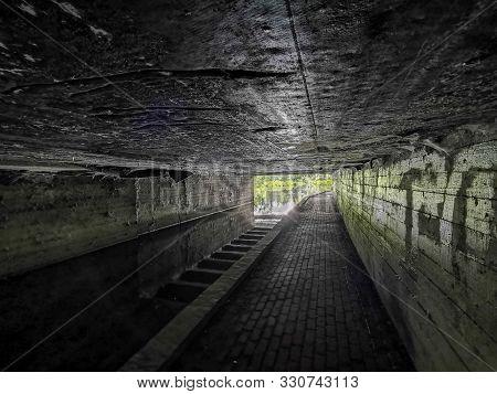 Passage Under A Concrete Bridge, Exit From The Tunnel To The Light, Concrete Passage