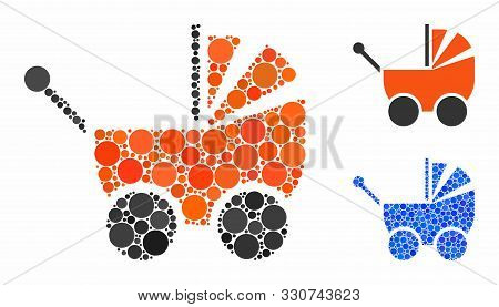 Pram Mosaic Of Small Circles In Different Sizes And Color Tinges, Based On Pram Icon. Vector Small C