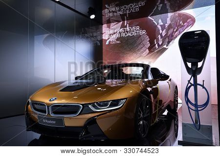 Nonthaburi,thailand - Dec 2, 2018: The New Bmw I8 Roadster 2018, Coordinates The Interaction Between