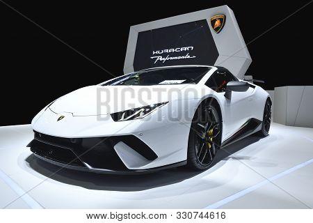 Nonthaburi,thailand - Dec 2, 2018: The Lamborghini Huracan Performante, Has Reworked The Concept Of