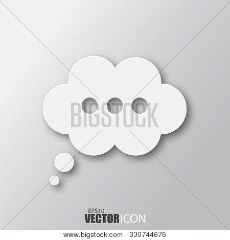 Speech Bubble Icon In White Style With Shadow Isolated On Grey Background.
