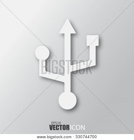 Universal Serial Bus Icon In White Style With Shadow Isolated On Grey Background.