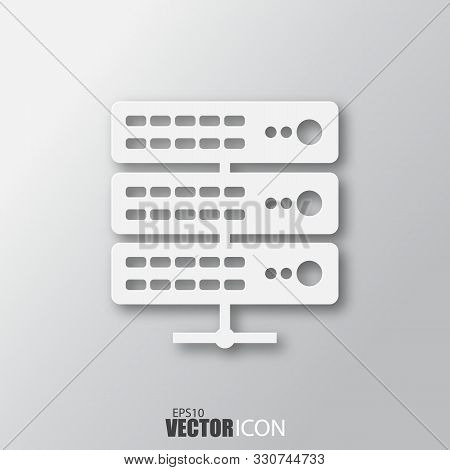 Server Icon In White Style With Shadow Isolated On Grey Background.