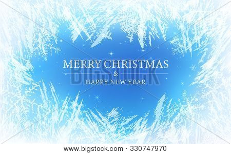Frost Pattern Background (merry Christmas). Frozen Texture In Winter (vector Ice Crystals) With Snow