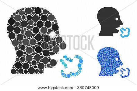 Sneeze Composition Of Round Dots In Various Sizes And Color Tinges, Based On Sneeze Icon. Vector Rou