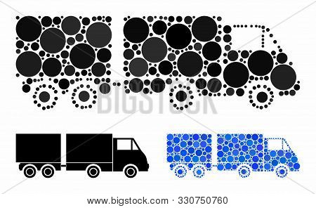 Trailer Mosaic Of Filled Circles In Various Sizes And Color Hues, Based On Trailer Icon. Vector Fill