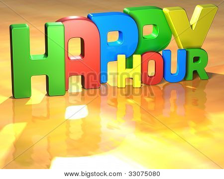 Word Happy Hour On Yellow Background