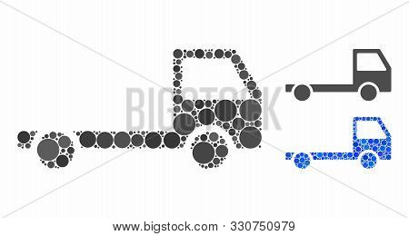 Truck chassis composition of circle elements in variable sizes and color hues, based on truck chassis icon. Vector circle elements are united into blue composition. poster