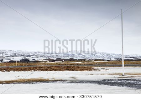 The Empty F26 Road In The Winter In Iceland