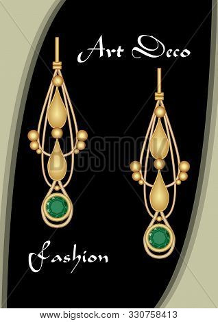 Golden Earrings In Art Deco Style With Emerald Pendant. Green Gem On Antiquarian Pendant