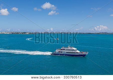 Hamilton, Bermuda - July 13, 2017: Hamilton, In Bermuda Has A Blend Of British And American Culture.