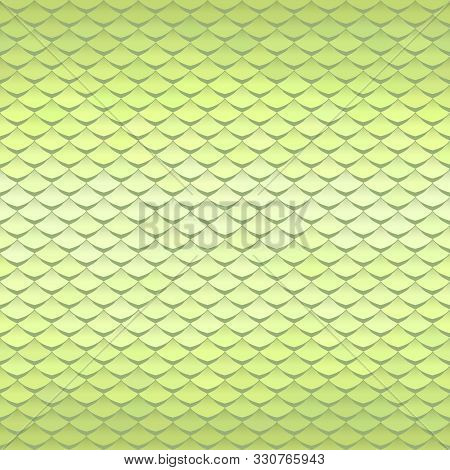 Abstract Scale Pattern. Roof Tiles Background. Light Green Squama Texture.