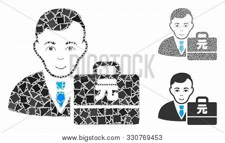 Yuan Renminbi accounter mosaic of uneven items in various sizes and shades, based on Yuan Renminbi accounter icon. Vector joggly items are composed into mosaic. poster