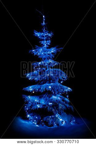 Snow-covered Christmas Tree In The Winter Forest Illuminated By New Year's Lights