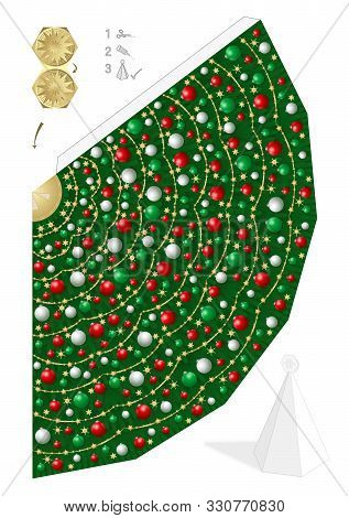 Paper Model Of Christmas Tree With Red, Green And White Christmas Balls And Straw Stars. Template To